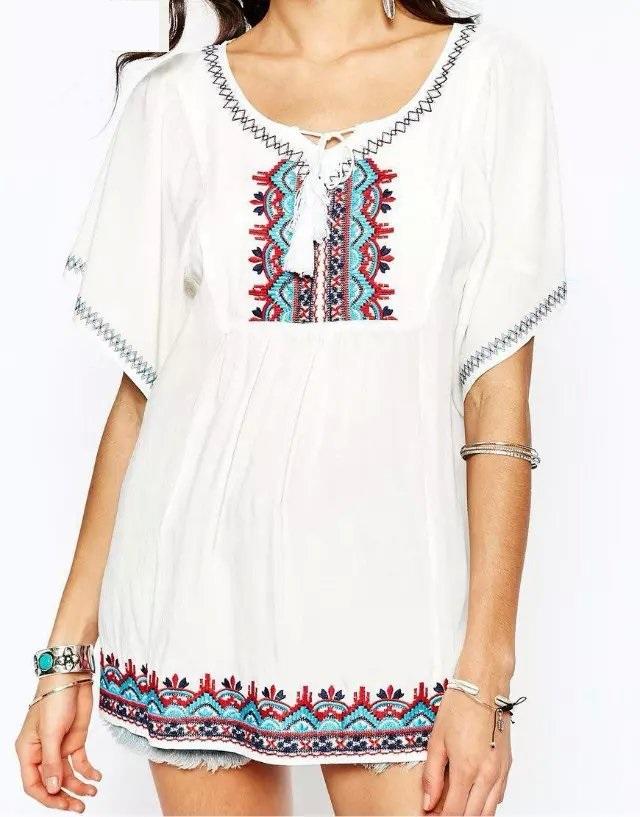 Fashion Women Elegant Vintage Embroidery Bohemia blouses ...