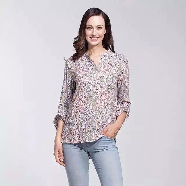 Fashion women elegant vintage Paisley print blouse v-...