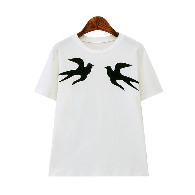 Fashion Women Elegant white Bird Print stretch T-shirt ...
