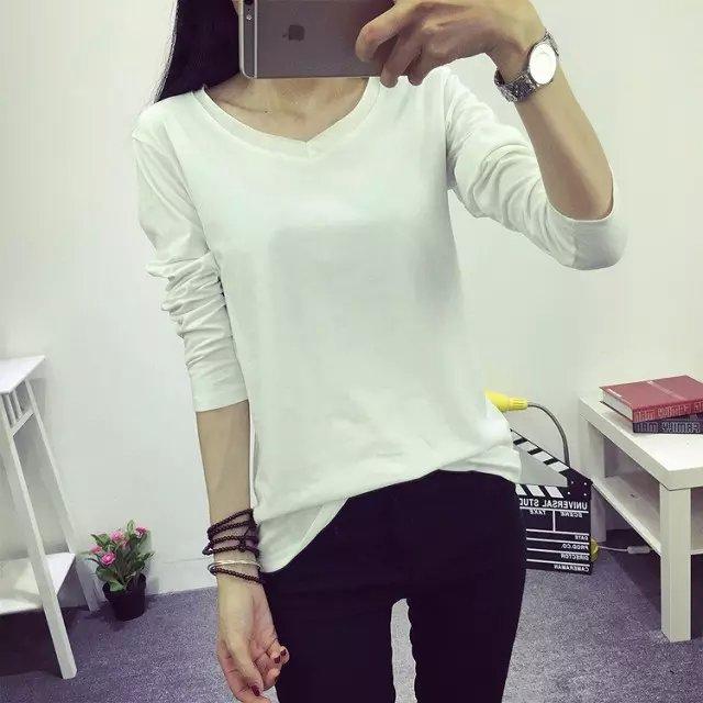 Fashion Women Elegant white cotton stretch T-shirts ...