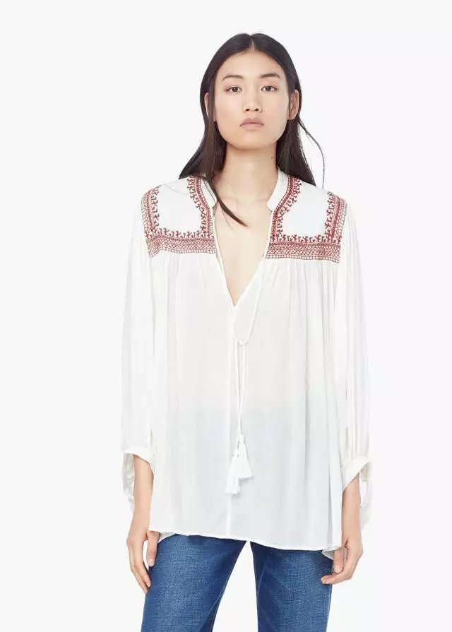 Fashion women Elegant white Geometric Embroidery blouses ...