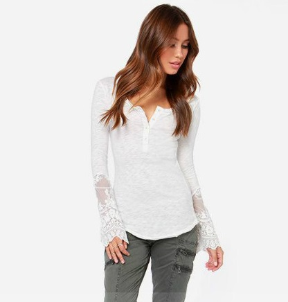Fashion women Elegant white Lace patchwork Long Sleeve ...