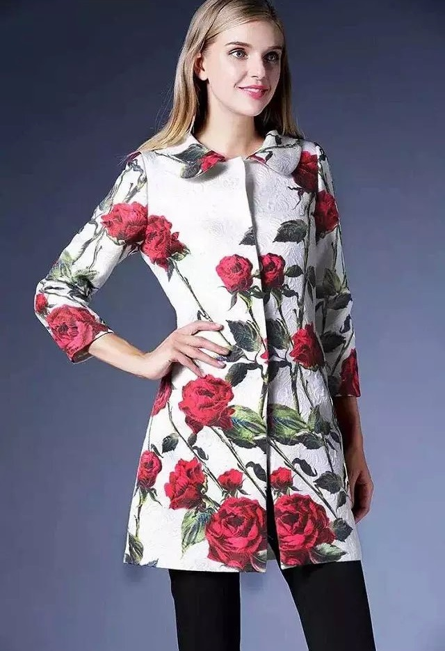 Fashion women Elegant white rose print button long sleeve ...
