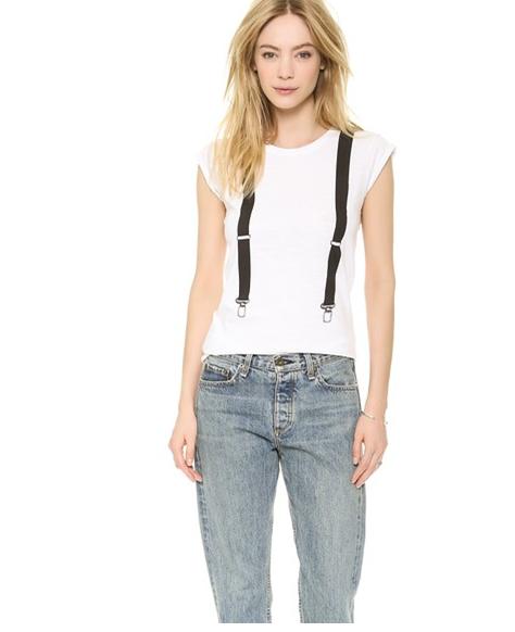 Fashion women elegant white Straps print short T-shirt ...