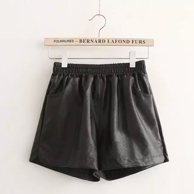 Fashion women elegant winter Black Faux leather shorts ...