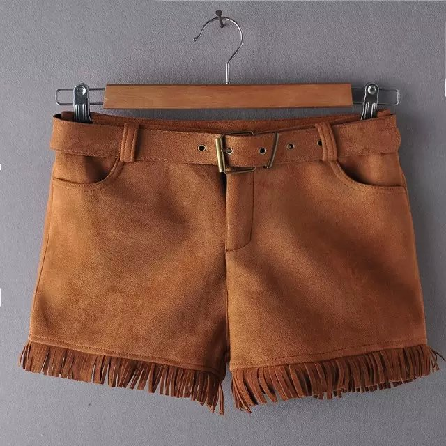 Fashion Women Elegant Winter brown Suede Leather Shorts ...