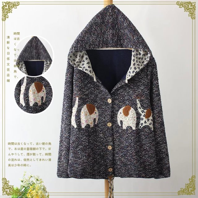 Fashion Women Elegant Winter Colored yarn Knitted elephant ...