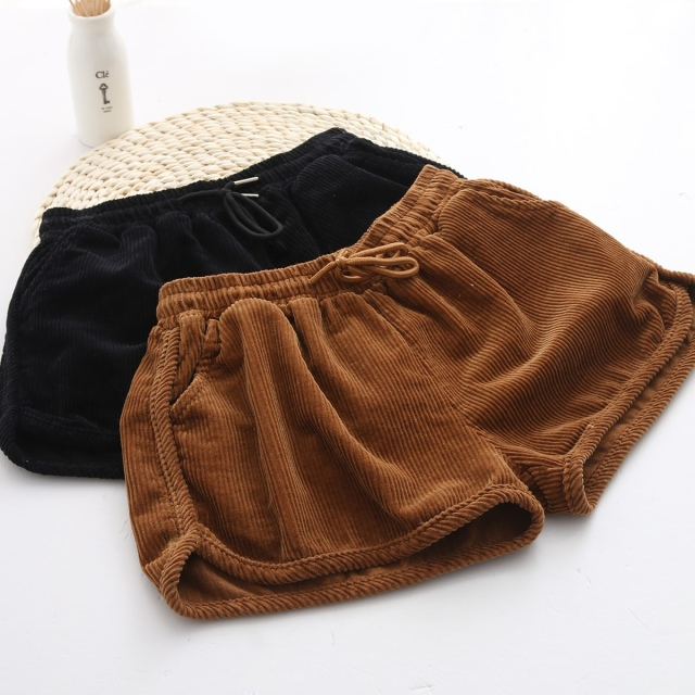 Fashion women elegant Winter Corduroy sport shorts vintage ...