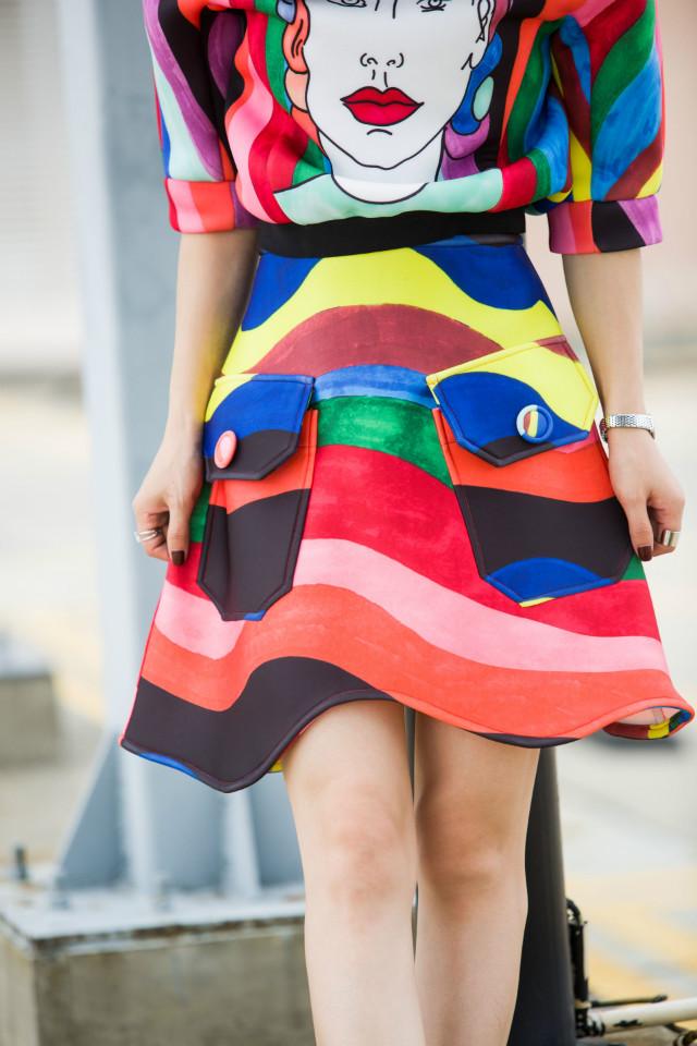 Fashion Women Elegant winter cotton Color wave print ...
