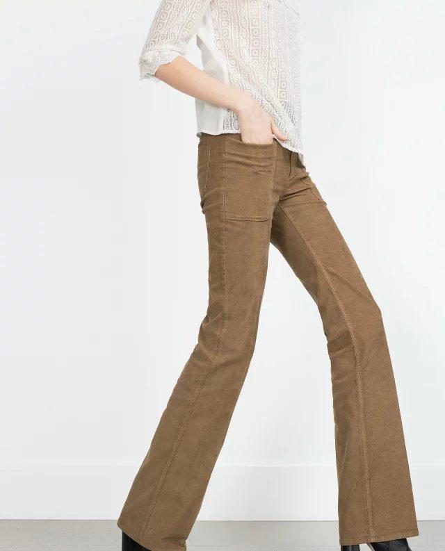 Fashion women Elegant winter Khaki Corduroy Flare Pants ...