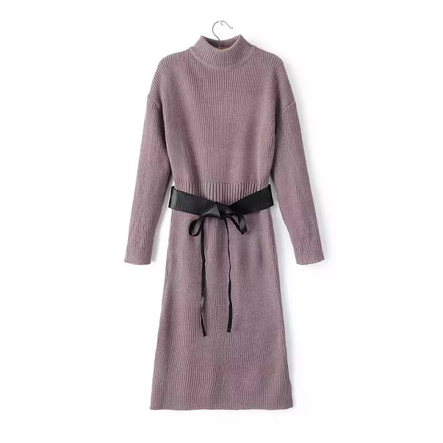 Fashion Women Elegant winter purple Knitted with belt ...