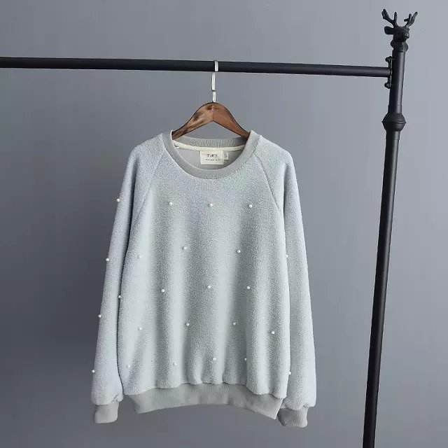 Fashion women elegant winter thick warm blue pearl pullover ...