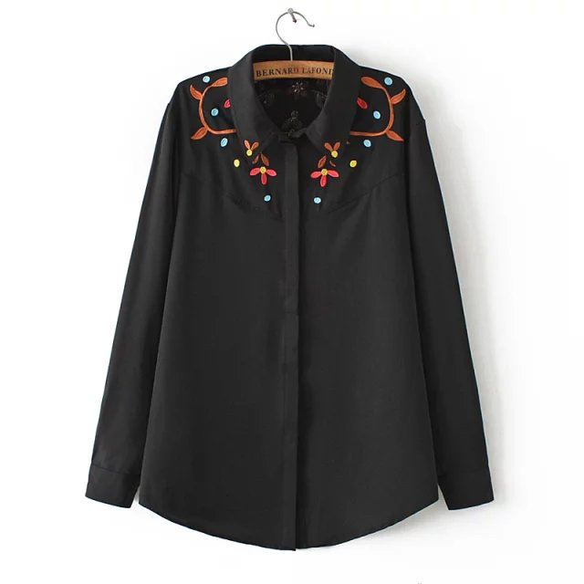 Fashion women floral embroidery black Blouse elegant ...