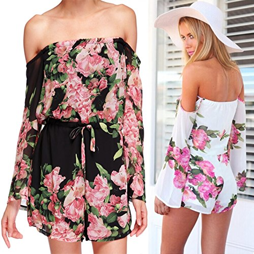 Fashion women floral print jumpsuit sexy Slash neck ...
