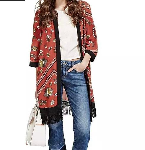Fashion Women Floral print Tassel Long Kimono outwear ...