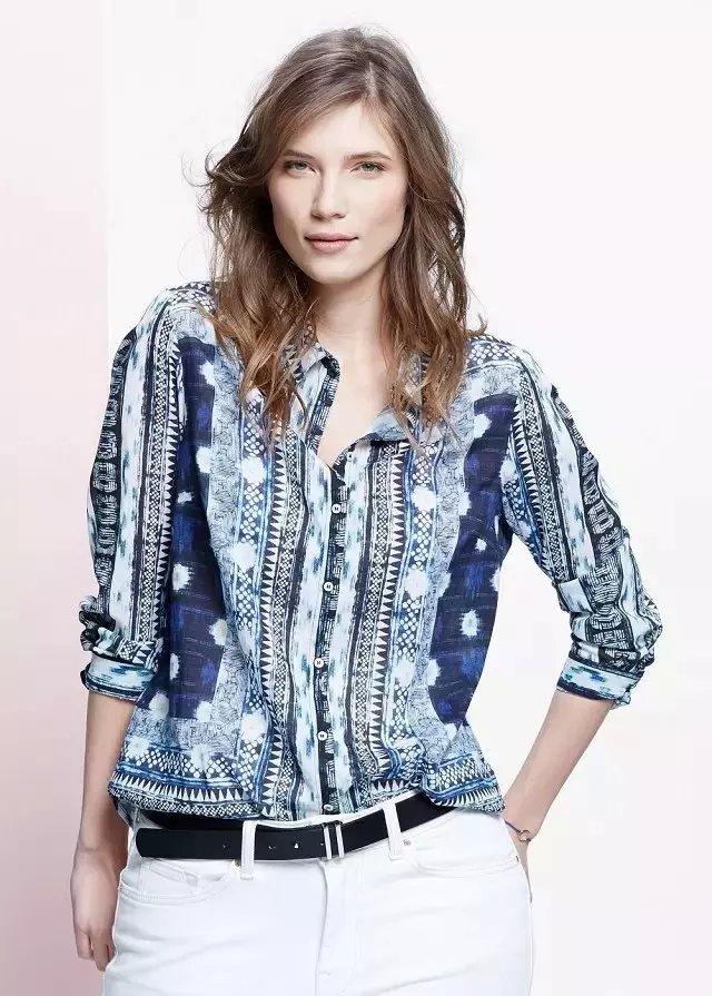 Fashion Women Geometric Print long Sleeve cotton blouse ...