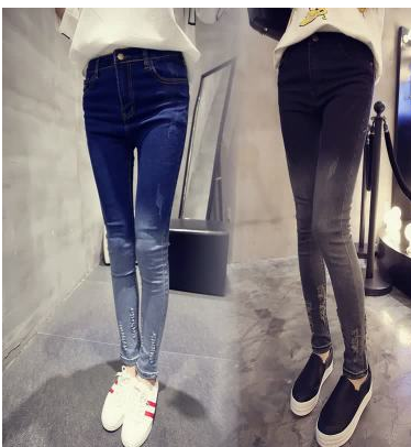 Fashion Women Gradient color denim Ripped pockets Zipper ...