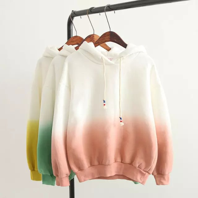 Fashion women Gradient color sport pullovers Casual ...