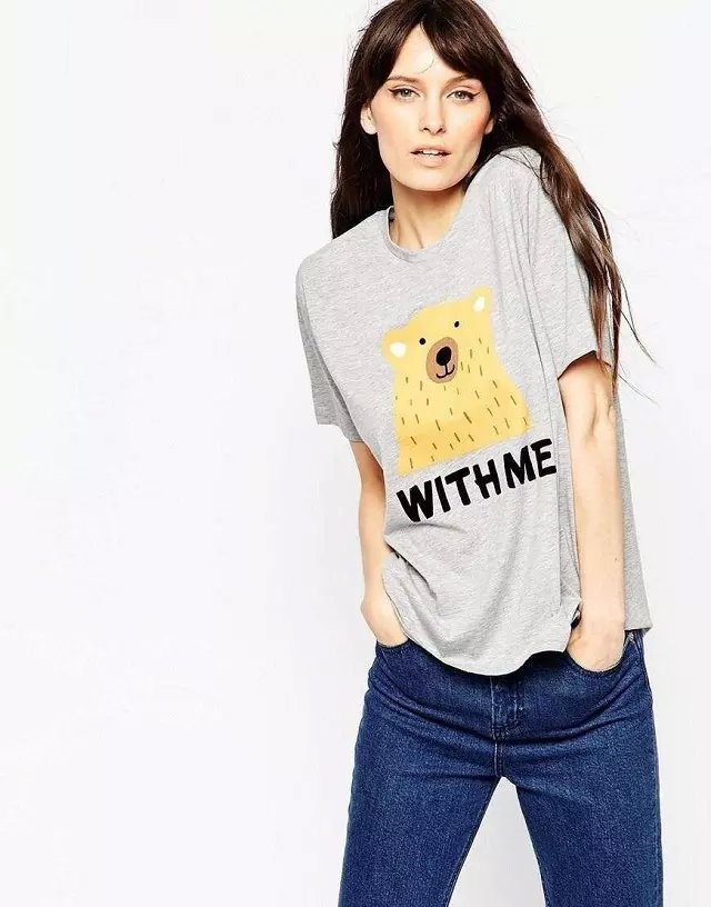 Fashion Women gray Cute Letter Cartoon Print basic cotton ...