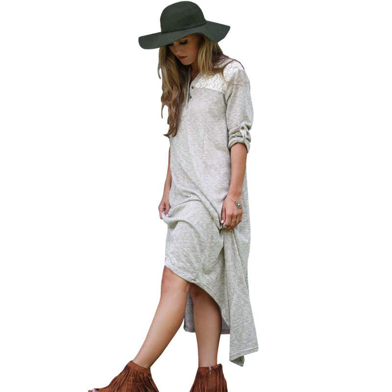 Fashion women gray lace patchwork Ankle-length Asymmetrical ...