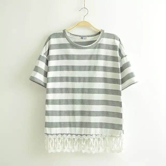 Fashion women gray striped print sweet T-shirt Lace ...