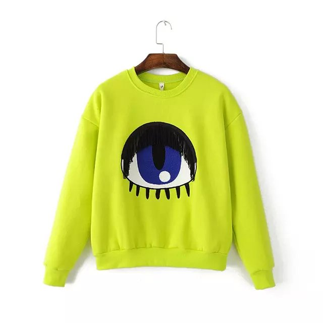 Fashion Women green Eye Embroidery tassel cotton pullovers ...