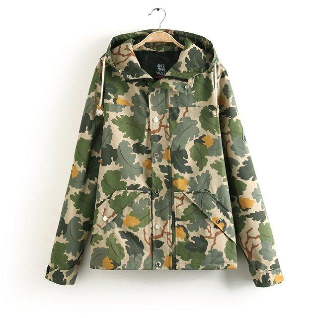 Fashion Women Jacket Camouflage hooded Drawstring Patch ...