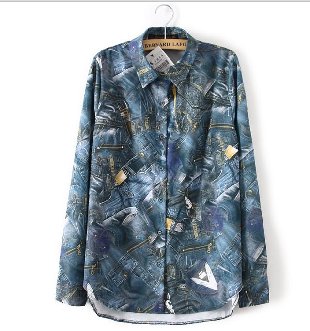 Fashion women Jeans Print Turn-down collar Button blouses ...