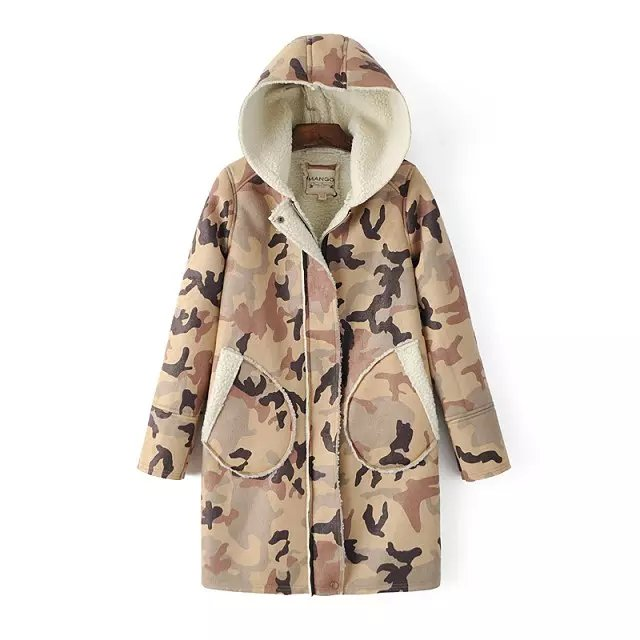 Fashion Women khaki Camouflage print Zipper hooded cotton ...