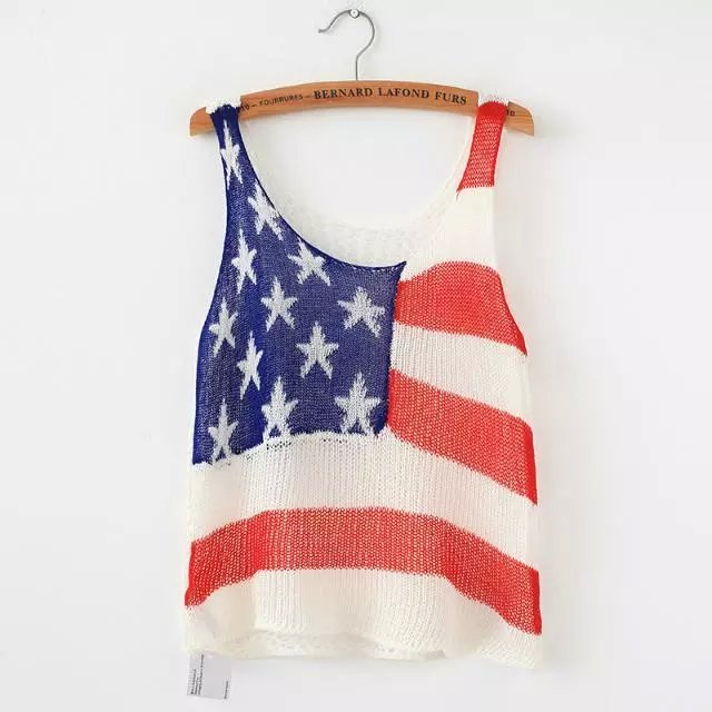 Fashion Women Knitted American flag O-neck Hollow out ...