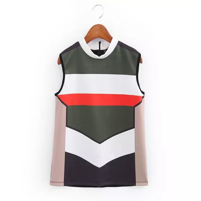 Fashion Women knitted Striped print stretch Sleeveless ...