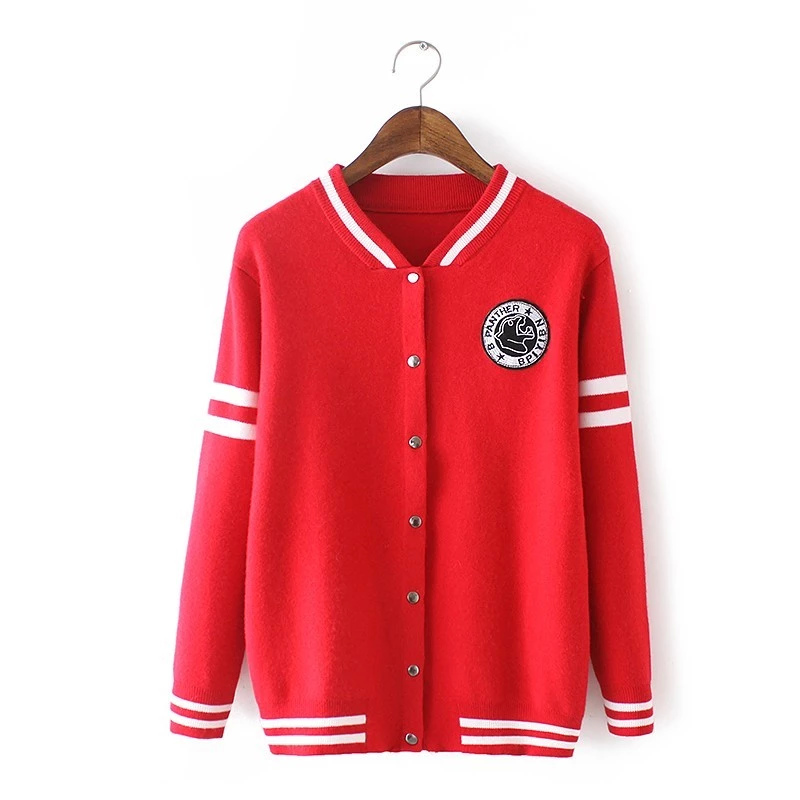 Fashion women Knitted sweater red Cashmere Embroidery ...