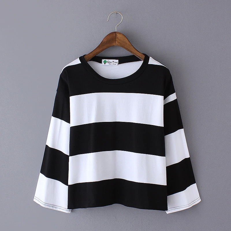 Fashion Women korean style striped print Flare sleeve ...