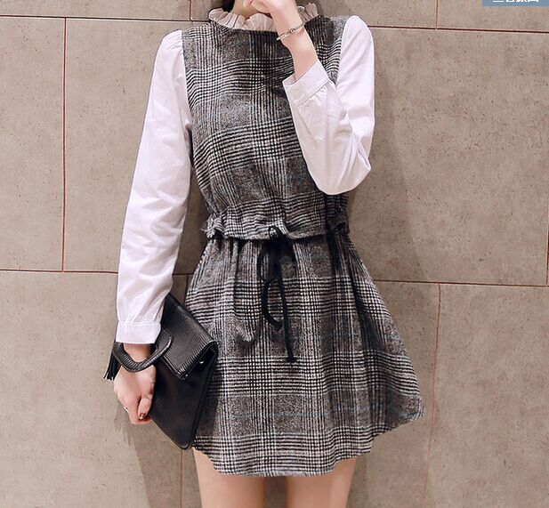 Fashion Women Korean style sweet gray plaid print woolen ...