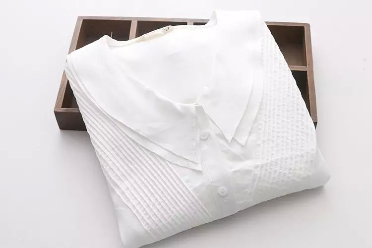 Fashion Women Korean style White Peter pan Collar blouses ...