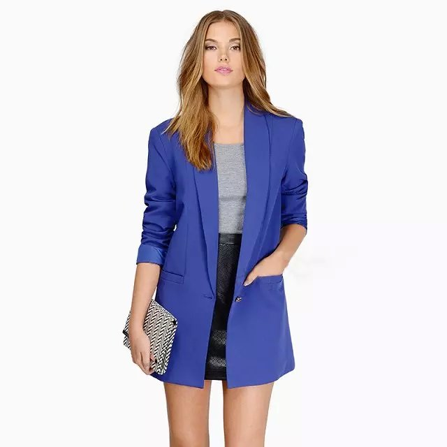 Fashion women long sleeve blue pocket button long blazer ...