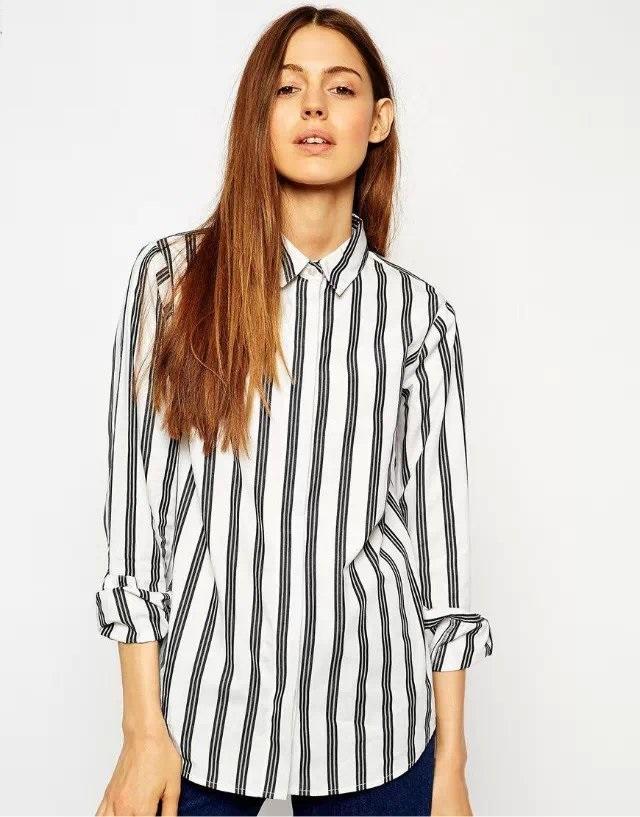 Fashion Women Office elegant striped print blouses turn ...