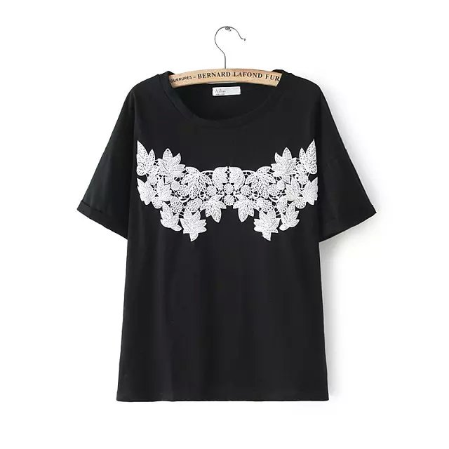 Fashion women pink cotton sweet T-shirt Lace Patchwork ...