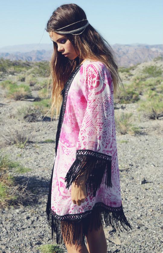Fashion Women Pink Floral print Tassel Long Kimono outwear ...