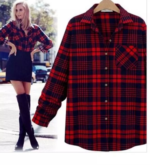 Fashion Women Plaid Print School Blouses Vintage Long ...