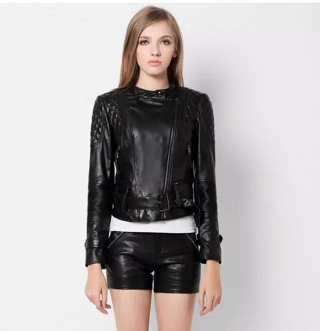 Fashion Women Punk style black Faux leather O-neck jacket ...