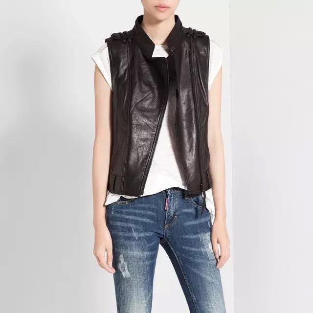 Fashion Women Punk style black faux leather Sleeveless ...