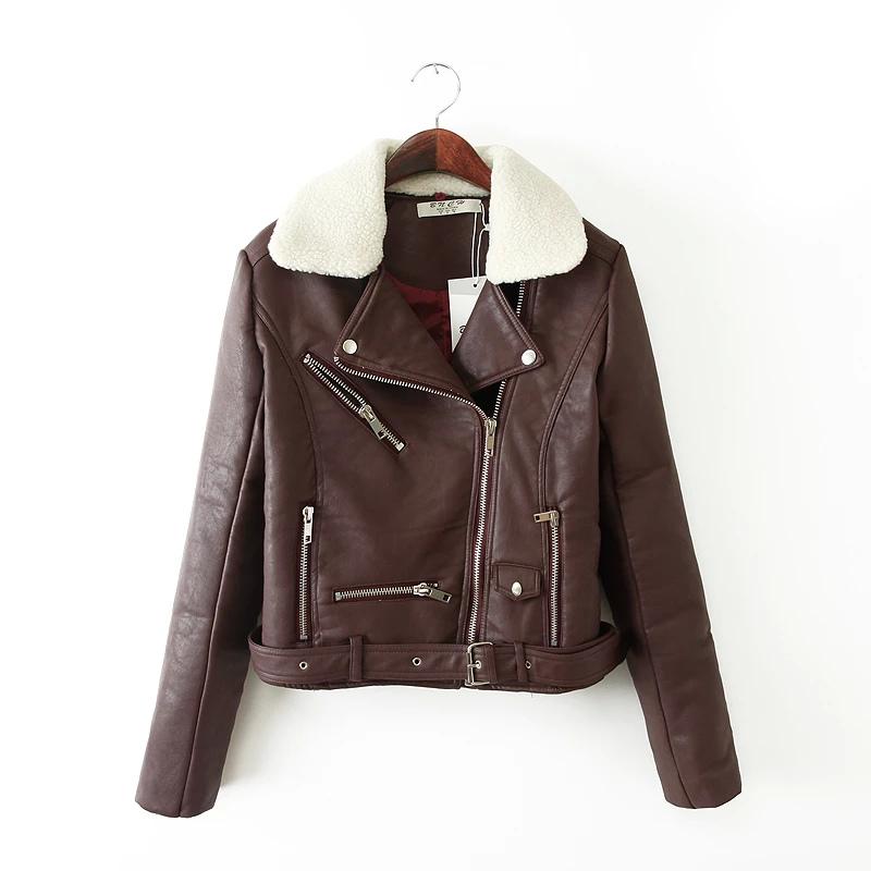 Fashion Women Punk style Winter Thick warm brown zipper ...