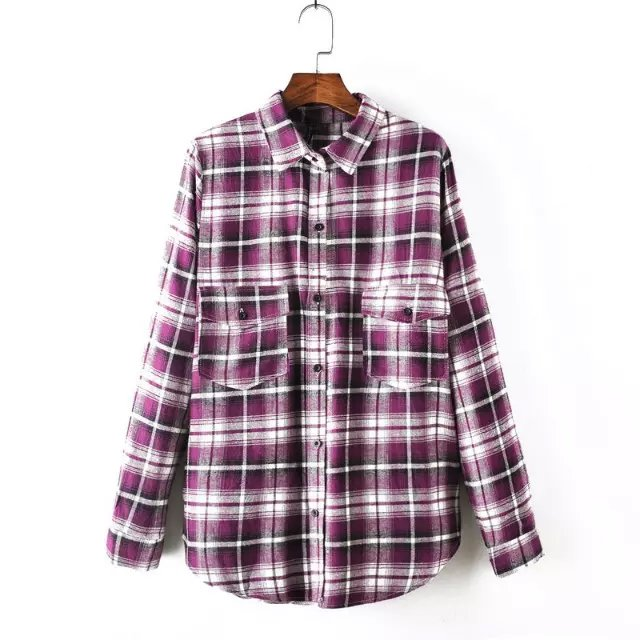 Fashion Women Purple Plaid print Pocket Turn-down collar ...