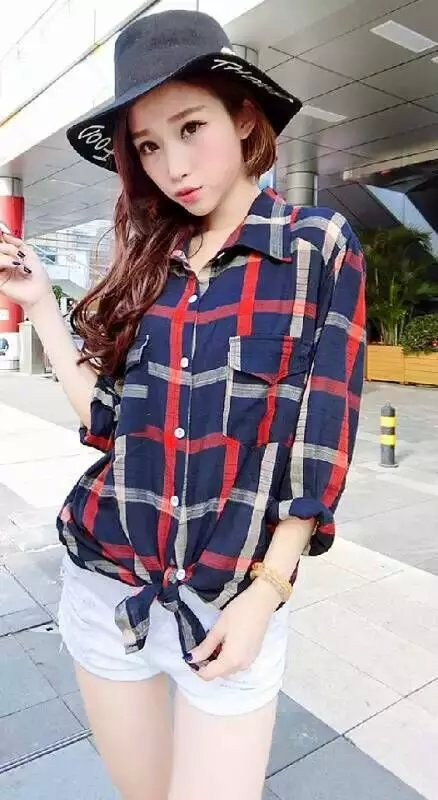Fashion Women red plaid print school blouses vintage ...