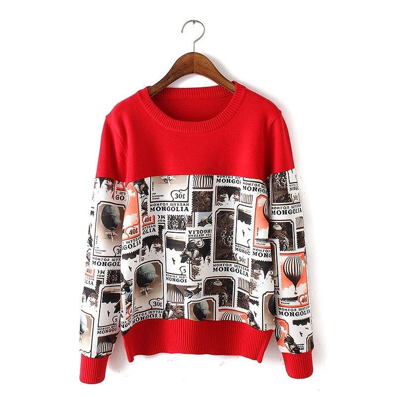 Fashion women red Stamp print patchwork knitted pullover ...