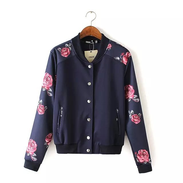 Fashion Women Rose Floral print coat outwear pockets ...