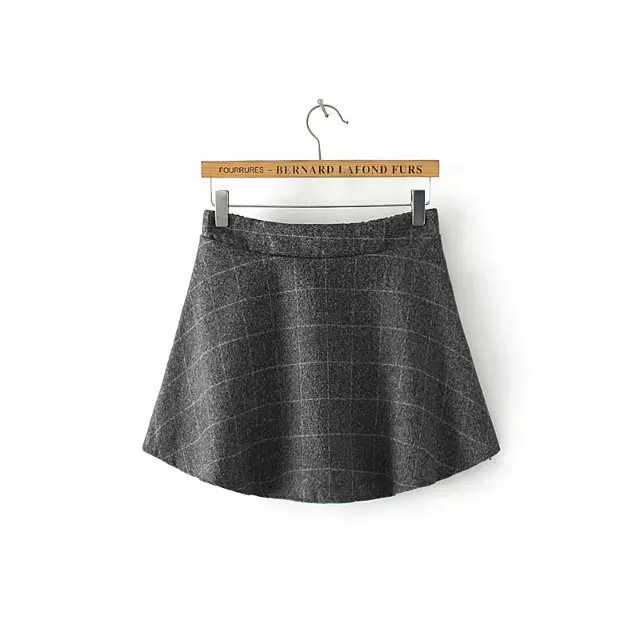 Fashion Women school style gray A-Line Plaid woolen ...