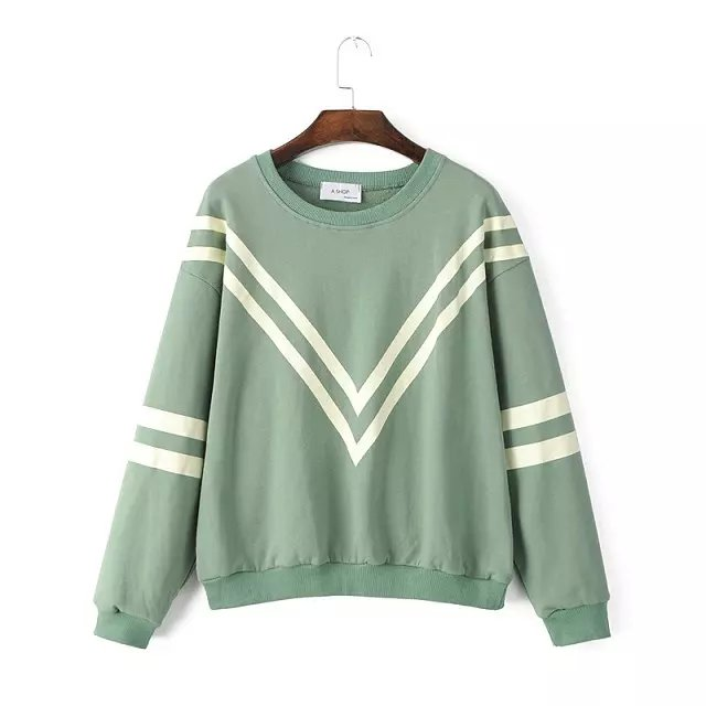 Fashion women school style green striped print sport ...