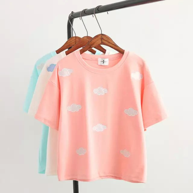 Fashion Women school style sweet clouds Print cotton ...